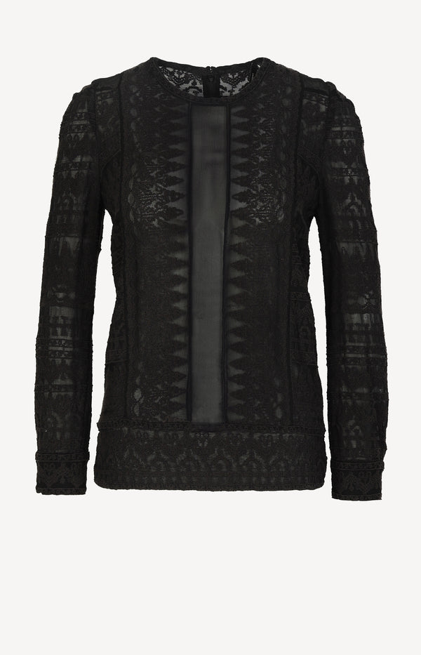 Long-sleeved lace blouse in black
