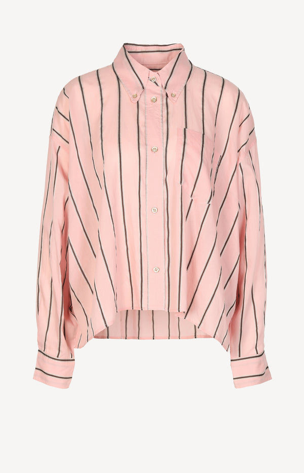 Boxy blouse in pink / brown