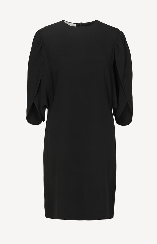 Dress with flared sleeves in black