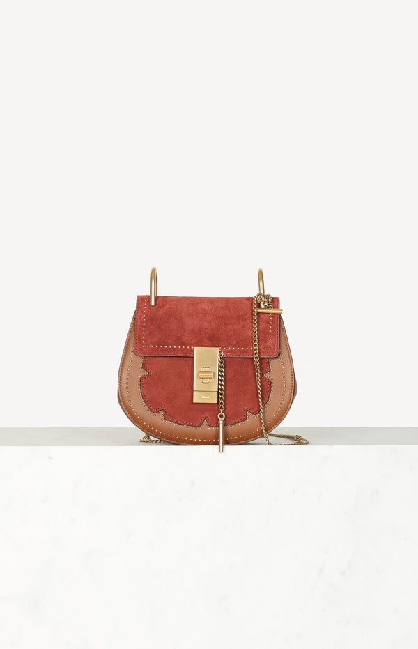 Tasche Drew Studded in Tan Red Leather/Suede