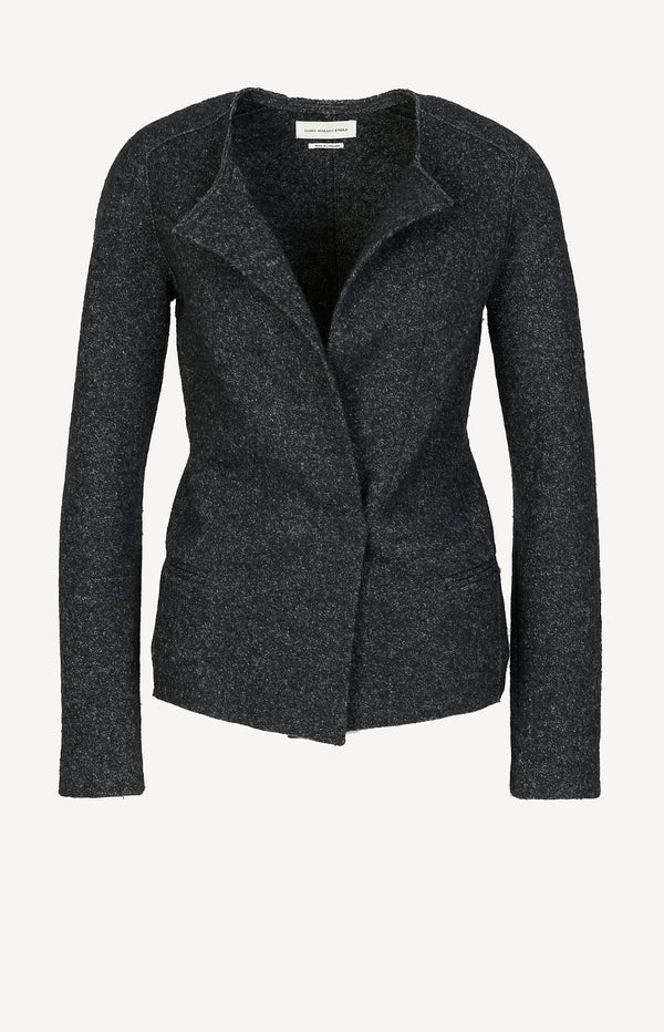 Wool blazer in black / cream