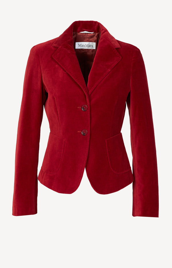 Velvet blazer in red