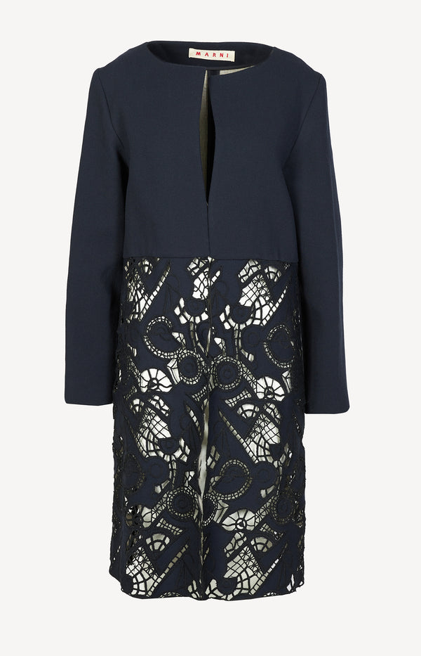 Coat with lace details in navy