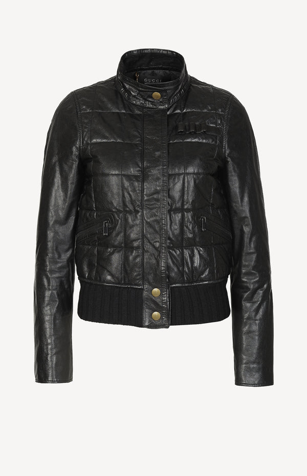 Quilted leather jacket in black