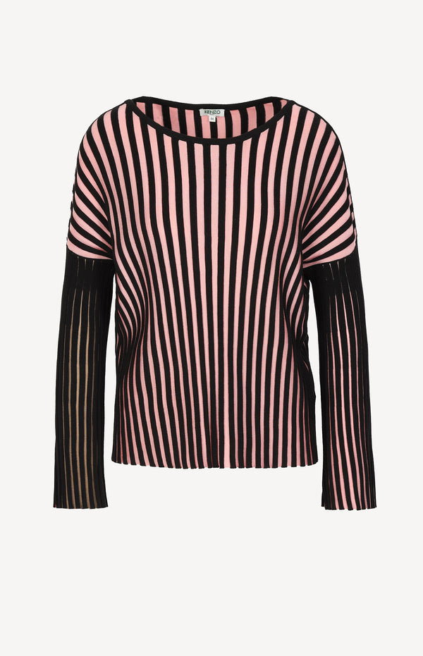 Striped sweater in pink / black