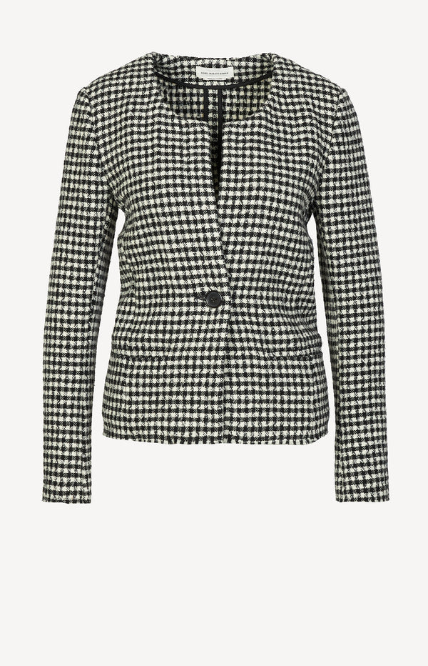 Blazer with a houndstooth pattern in black and white