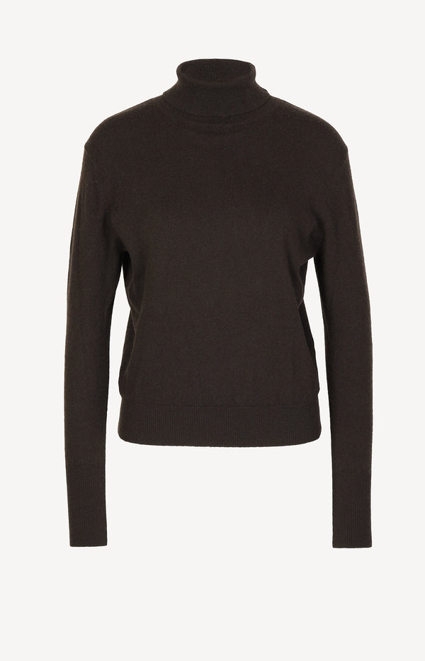 Cashmere sweater with collar in brown