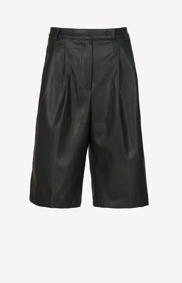 Faux Leather Shorts Pernille in Schwarz