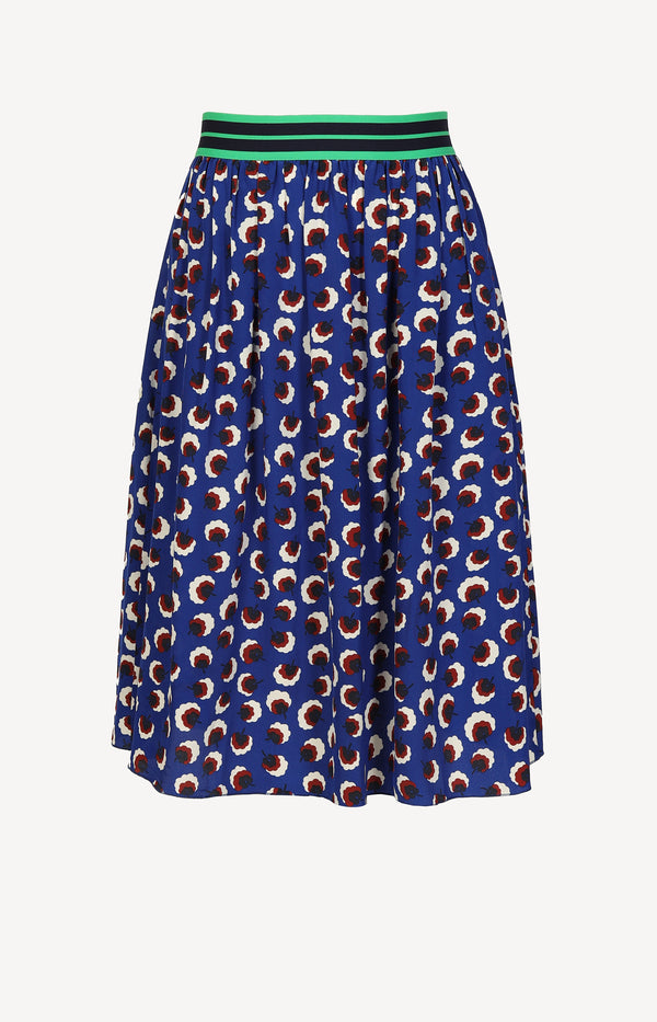 Silk skirt with print in royal blue