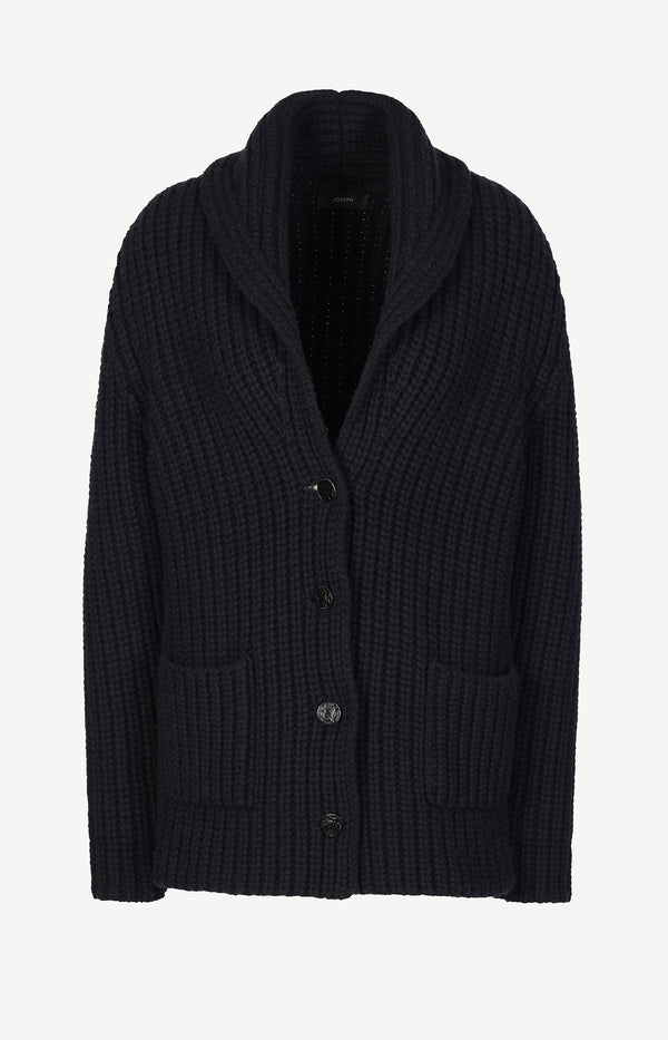 Cardigan mit Schalkragen in Navy