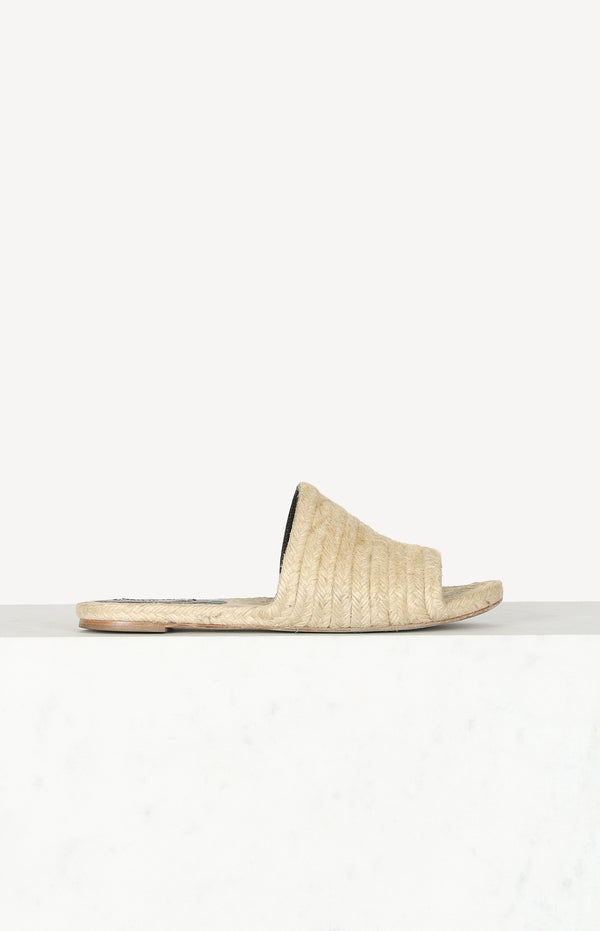 Raffia slippers in beige