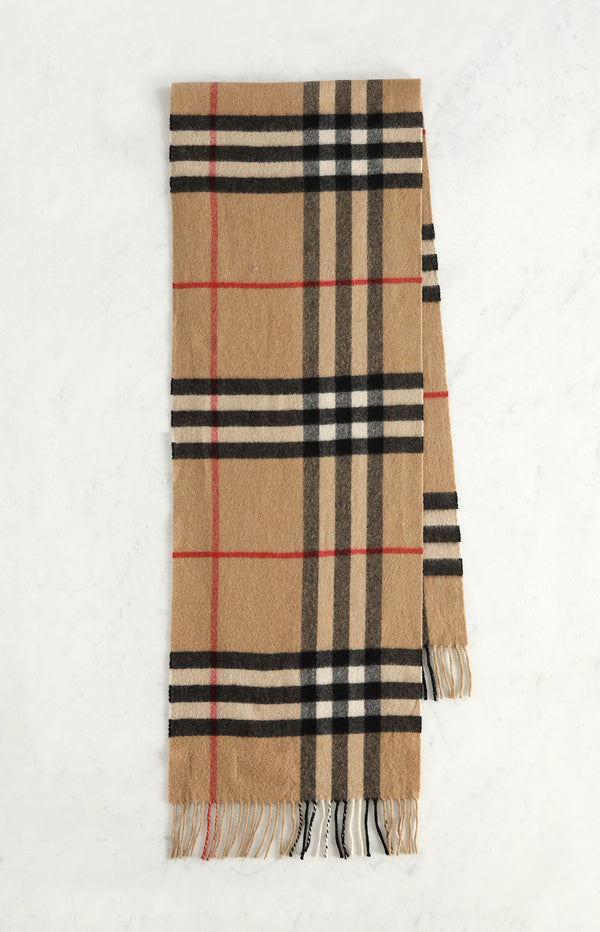 Classic cashmere scarf with check pattern