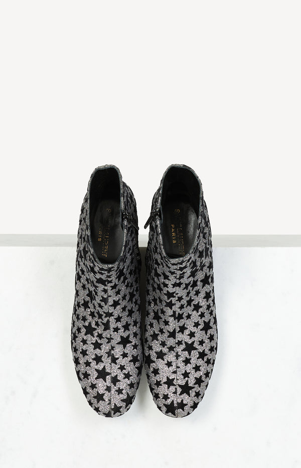 Glitter Stars ankle boots in silver / black