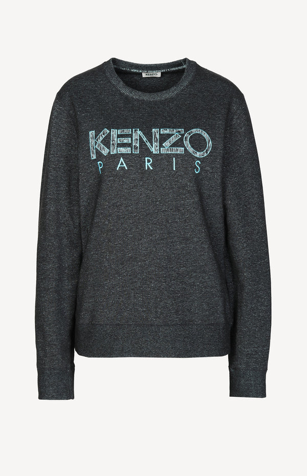 Sweater with logo print in blue / black