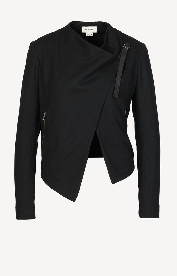 Wool blazer with leather straps in black