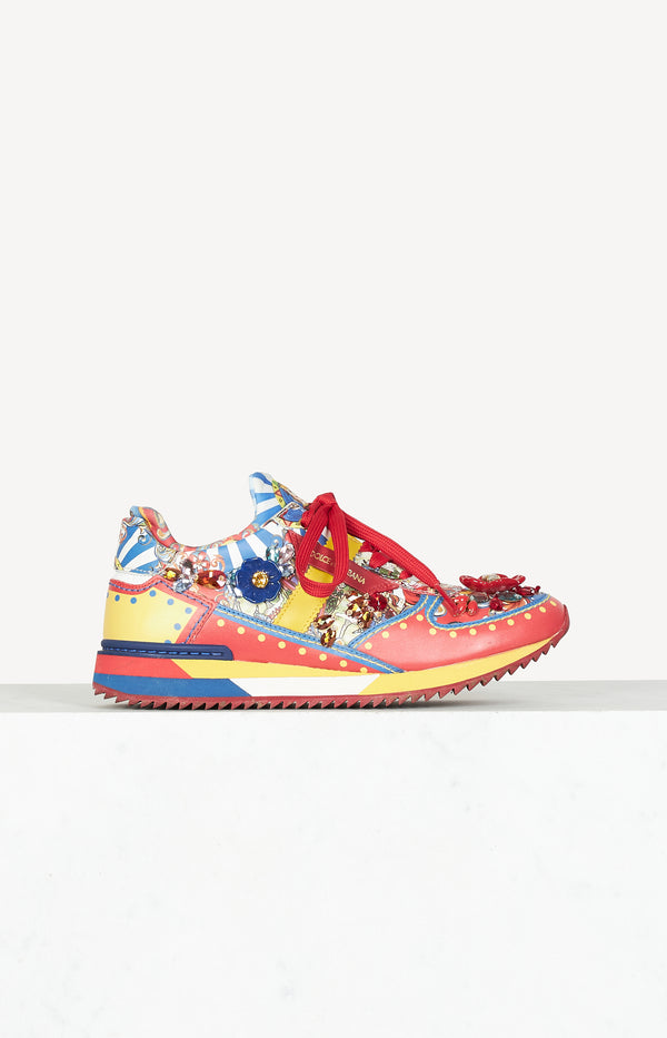Carretto Siciliano print sneakers in multi