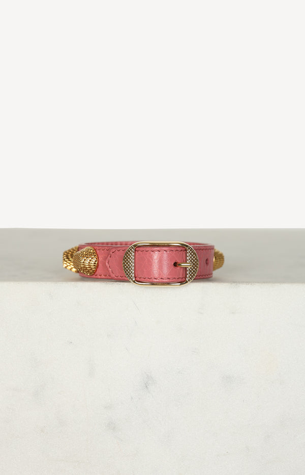 Lederarmband Giant in Altrosa/Gold