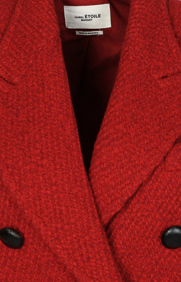 Straight wool coat in red