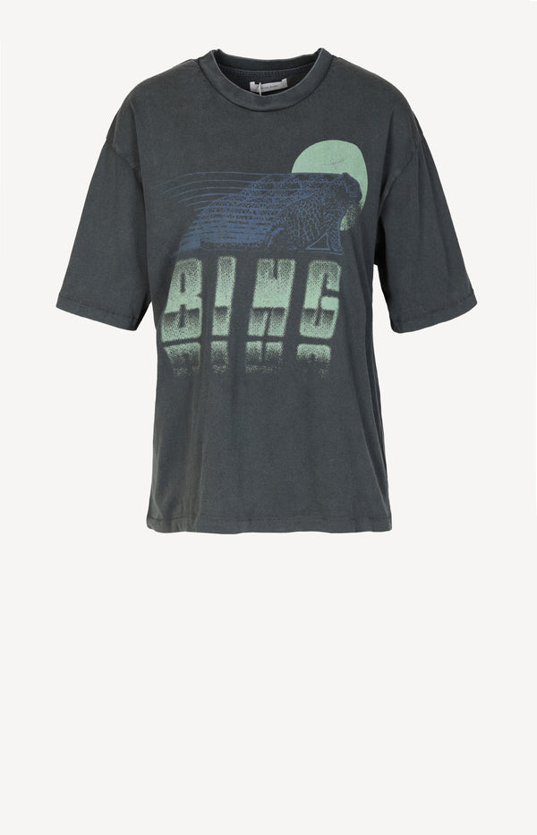 T-Shirt Tiger Moon in Washed Black