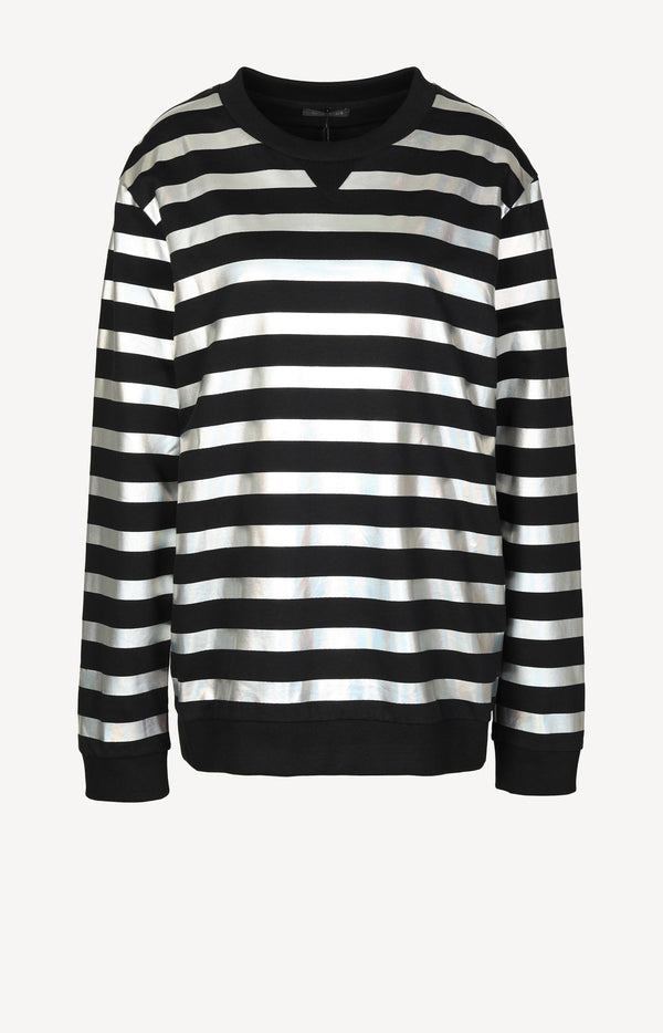 Sweater Holographic Stripes in Schwarz