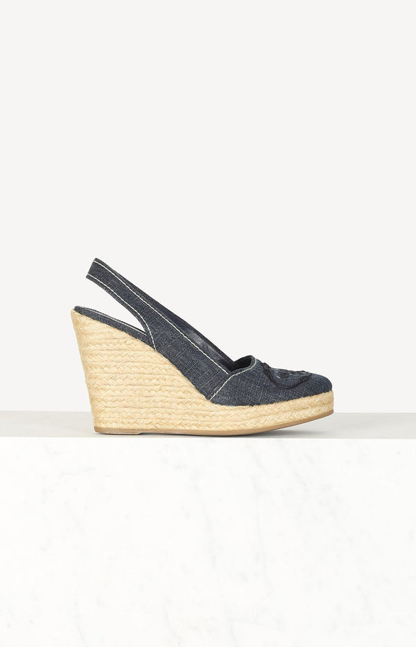 Raffia wedges with denim