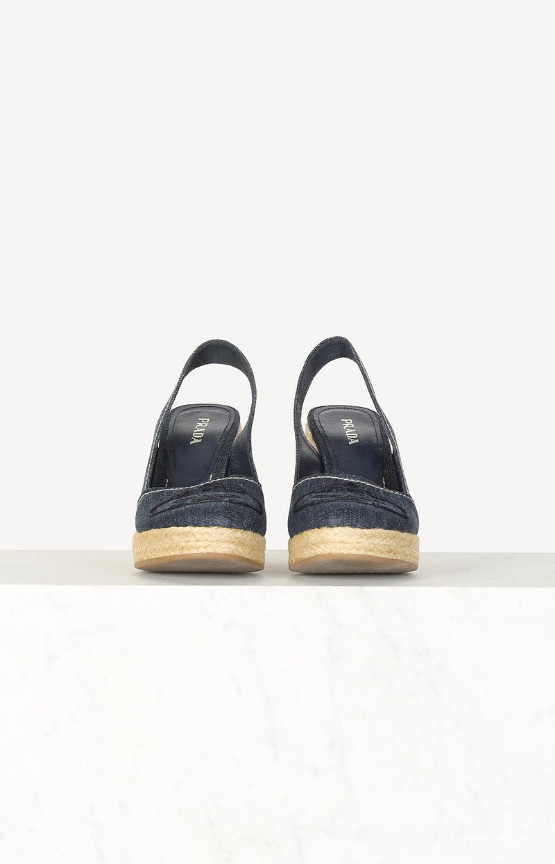 Bast-Wedges mit Denim