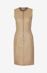 Leather dress in dark beige