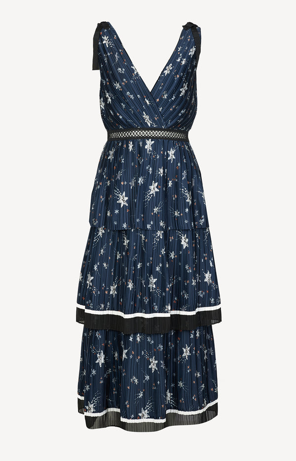 Strap dress in navy / multi