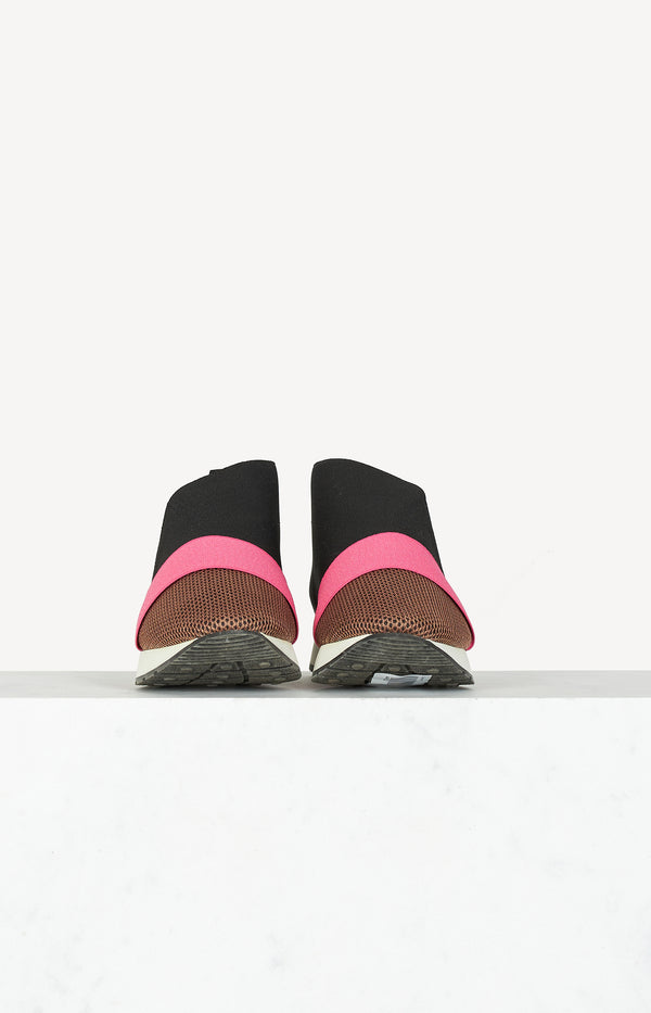 Mesh sneakers in black / pink / brown