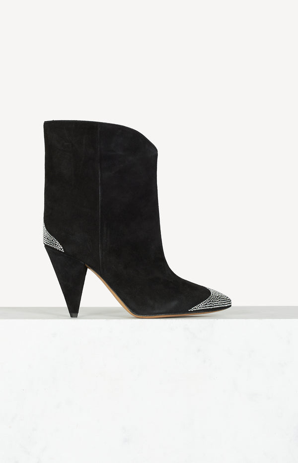 Alnya suede boots with a decorated toe cap in black