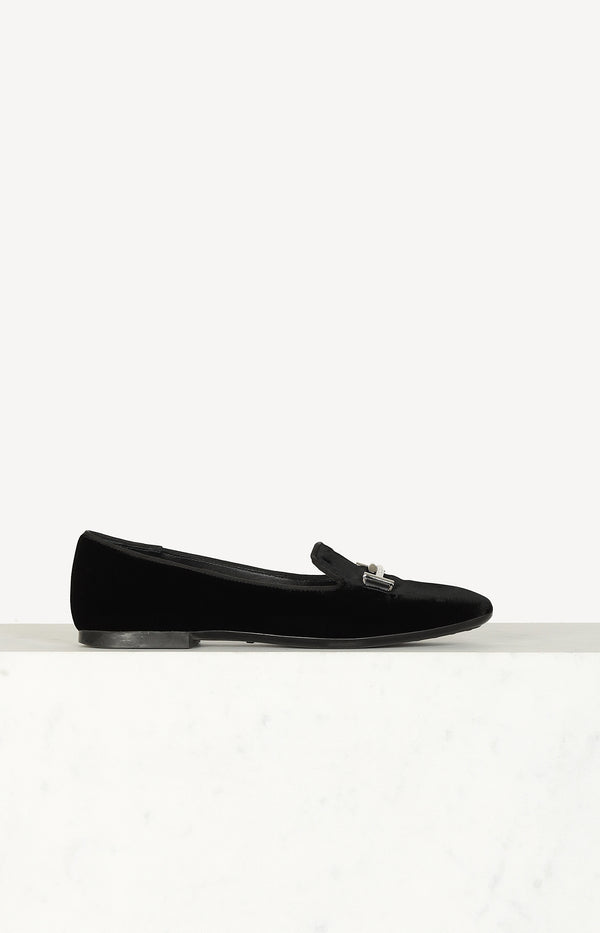 Samt-Loafer Double T in Schwarz