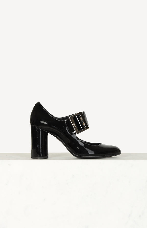 Mary Jane Pumps aus Lackleder in Schwarz