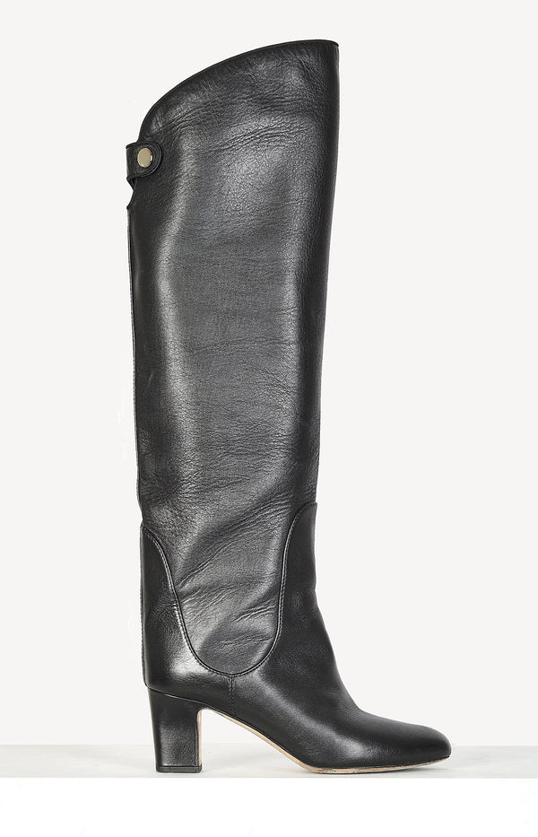 High boots made of black leather