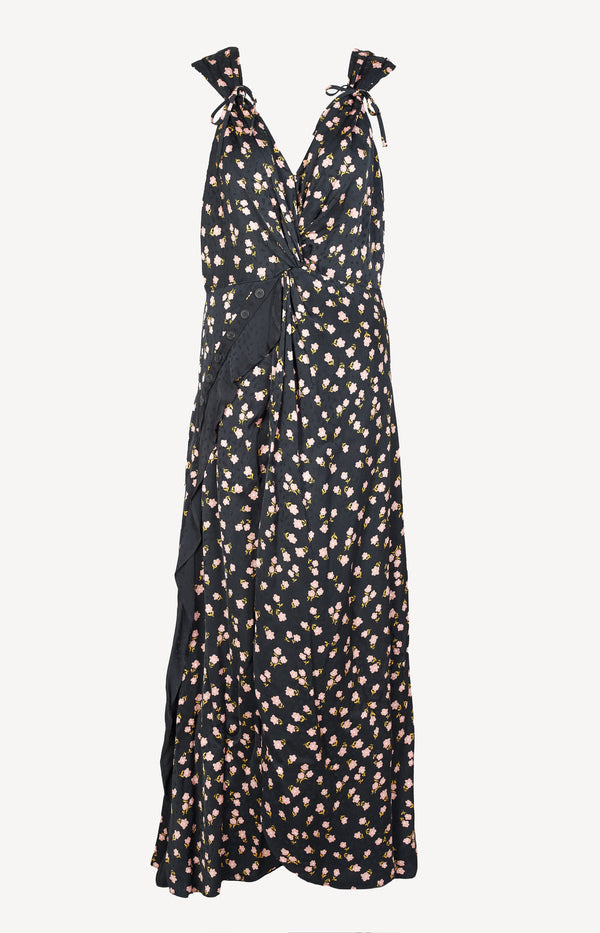 Dress with flower print in black / multi