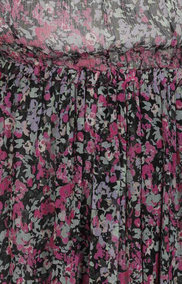 Silk dress with print in pink / black