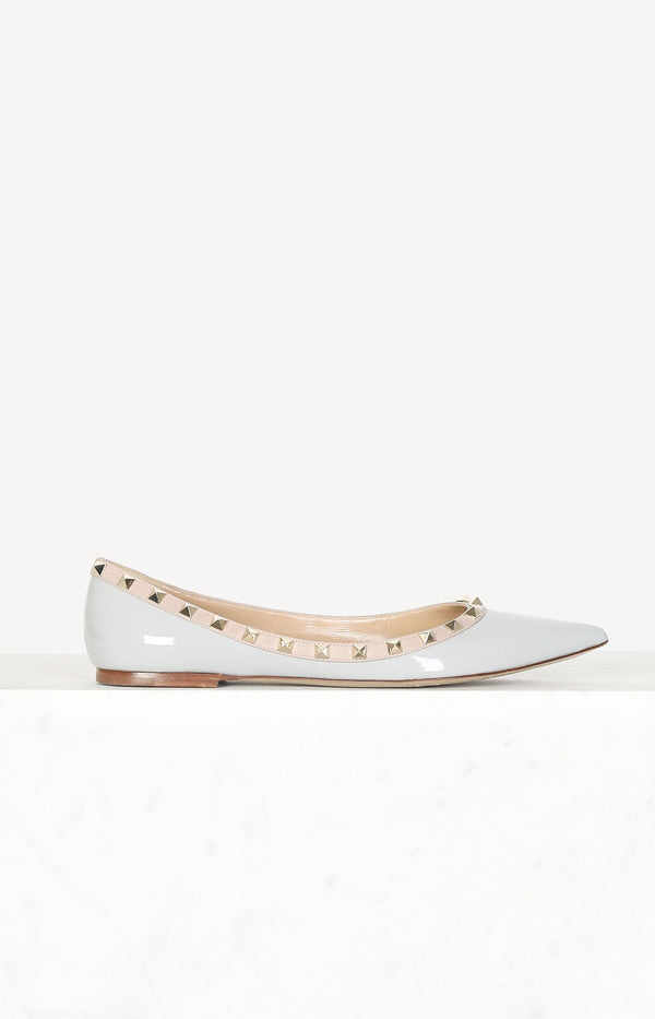 Rockstud ballerinas in light gray / rose