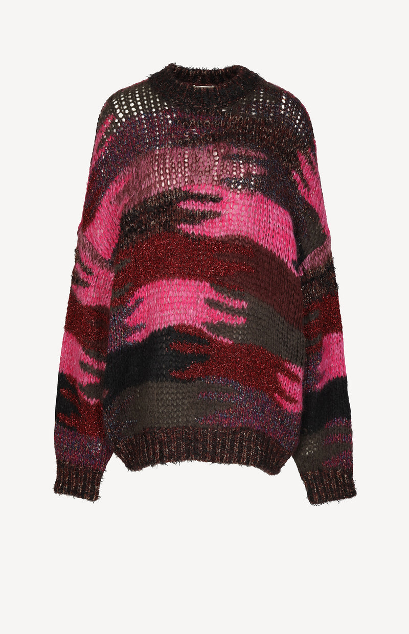 Grobstrickpullover in Pink/Multi