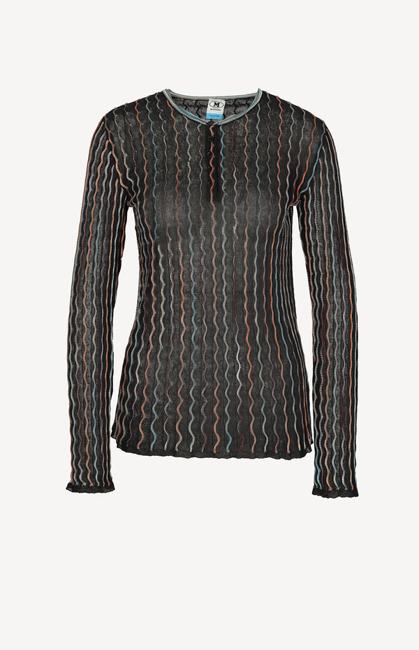 Fine sweater in black / multi