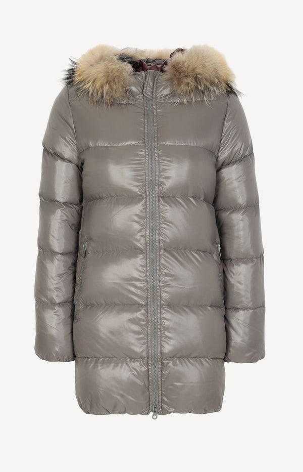 Down jacket with fur collar in taupe