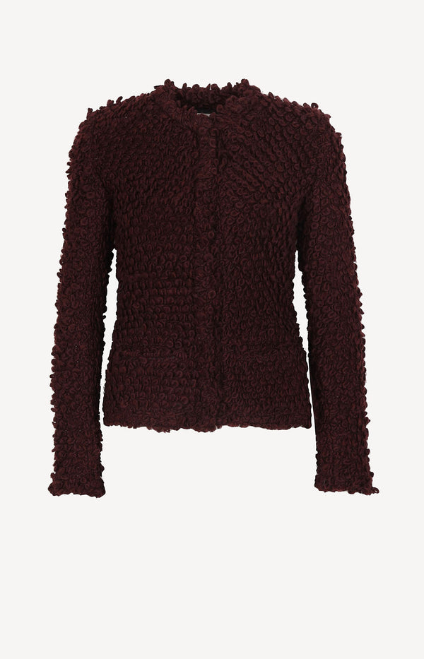 Burgundy shearling jacket