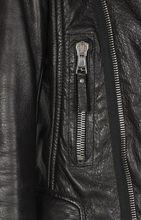 Biker leather jacket in black