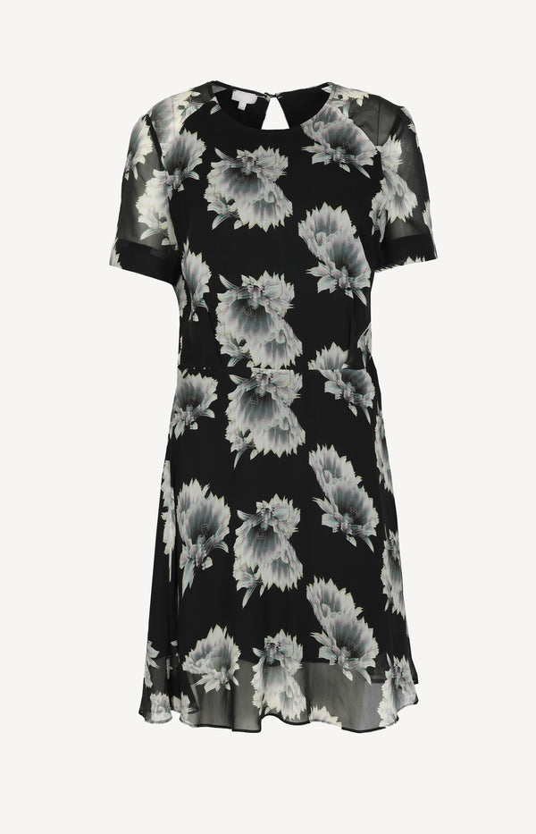 Silk dress in black with print