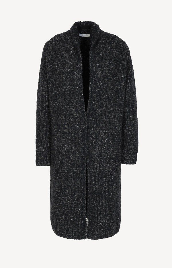 Wool blend knitted coat in dark blue