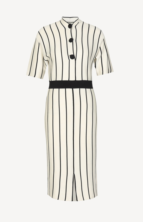Silk dress with stripes in black and white