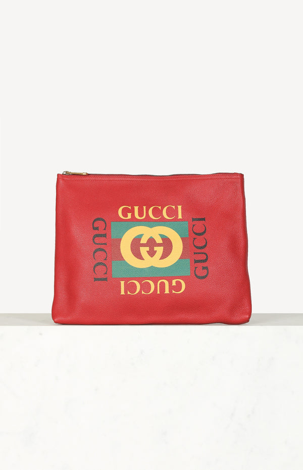 GG Large Leather Clutch in Rot