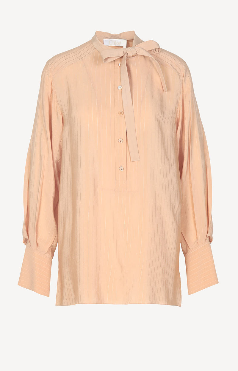 Seidenbluse in Apricot Pink