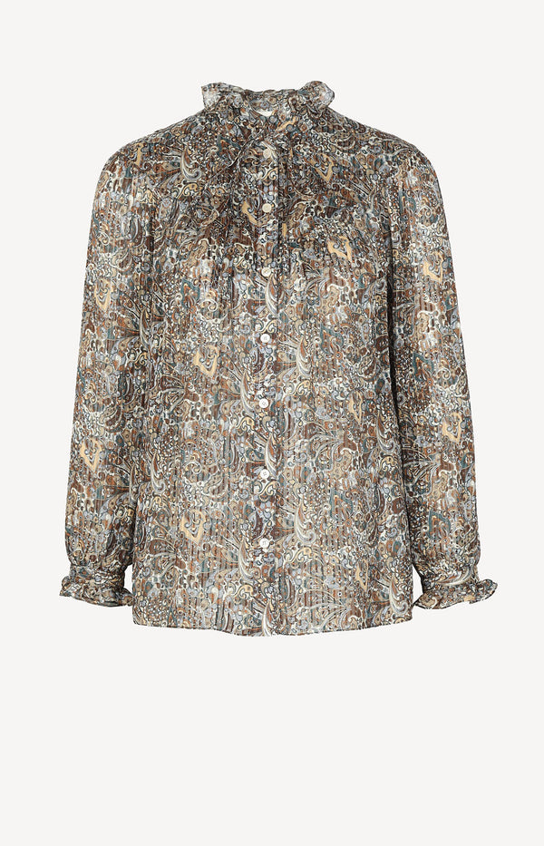 Silk blouse with paisley print