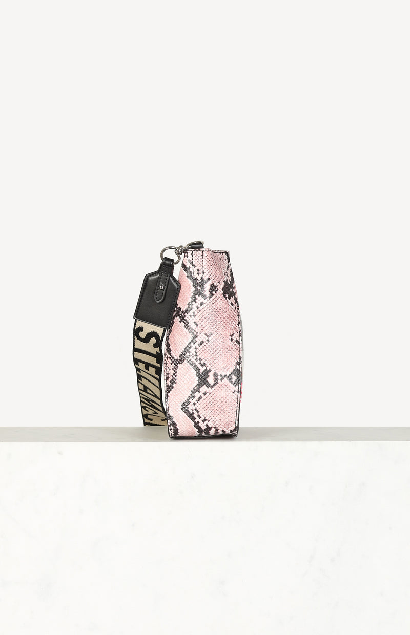 Faux Snake Crossbody Bucket in Pink/Neutral