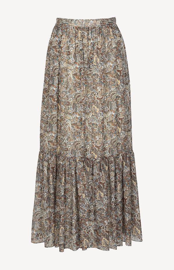 Silk skirt with paisley print