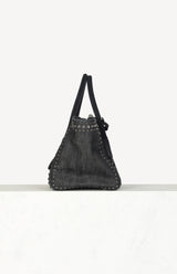 Studded Denim Tote Bag in Blau/Silber